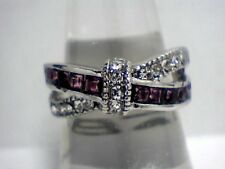 New Arrival Amethyst & Austrian Crystal Bow Band in .925 Sterling Silver Sz. 8