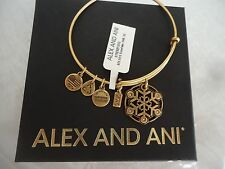 Alex and Ani SNOWFLAKE 2015 Russian Gold Finish Bangle New W/Tag Card & Box