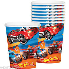 HOT WHEELS Wild Racer 9oz PAPER CUPS (8) ~ Birthday Party Supplies Beverage Blue