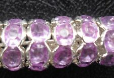 100pcs silver Light purple plated crystal spacer beads curved edge 8mm