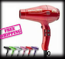 Parlux 3800 Ceramic Ionic Hair Dryer Color RED - MADE IN ITALY