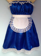 royal satin dress + apron adult baby fancy dress sissy french maid cosplay36-52