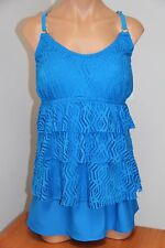 NWT Island Escape Swimsuit Tankini 2pc Set Plus Sz 18W Skirt  Blue Crochet