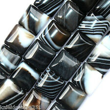 BLACK STRIPED AGATE BEADS DOUBLE STRAND SQUARE 2 HOLE 10MM BEAD