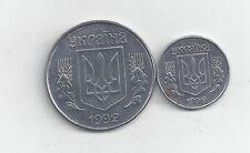 2 DIFFERENT COINS from UKRAINE - 1 & 5 KOPIJOK (BOTH 1992)