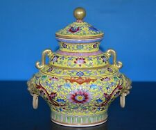 SUPERB ANTIQUE CHINESE FAMILLE ROSE INCENSE BURNER MARKED QIANLONG RARE T9277
