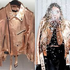 ZARA Rose Gold Metallic Leather Biker Jacket With Zip Studded S Small