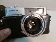 Minolta Hi-Matic 7 Camera with Leather Case Working Condition Unknown