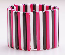 MODERN WHITE/PINK/BLACK FLEXIBLE 'CUFF' PLASTIC BRACELET CASUAL STYLE (ZX29)