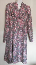 NOA NOA (SMALL / UK10 / EU38) GREY SILK PAISLEY PRINT LONG-SLEEVED DRESS