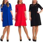 Plus Size Women Half Sleeve Lace Loose Casual Dress Party Cocktail Club L-6XL