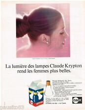 PUBLICITE ADVERTISING 095  1968  CLAUDE  les lampes ampoules KRYPTON