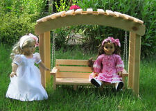 "Wooden Arbor Swing For 18"" Dolls Furniture American Girl  Handmade USA"
