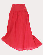 *MONSOON*Red Cotton Embroidered Casual Formal Midi Skirt sz12 EU40 M
