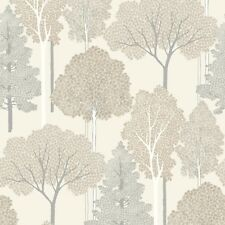 Ellwood Cream and Beige Trees Wallpaper with Silver Glitter by Arthouse 670001