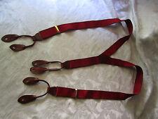 Red Men's Suspenders Stretch Adjustable Brown Leather VGUC Elegant