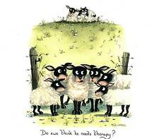 Do ewe think she needs therapy? print signed by UK artist Mark Denman