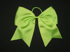 "NEW ""LIME GREEN"" Cheer Bow Pony Tail 3 Inch Ribbon Girls Hair Bows Cheerleading"