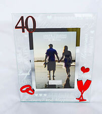 Happy 40th Anniversary Photo Frame Gift Ruby Wedding Gift