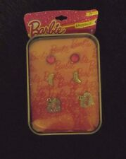 new Mattel Barbie Doll 3 pair earrings cartoon collectible tin high heels hearts