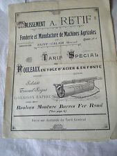 Vintage Catalogue 1900s Retif garden and agricultural rollers st calais France