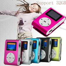 USB Mini Clip MP3 Player LCD Screen Support 32GB Micro SD TF Card Radio Reader