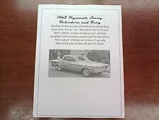 1962 Plymouth Big-Car cost/dealer sticker pricing for car + options--62