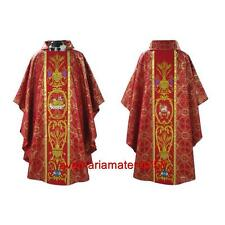 Agnus Dei Red Gothic Chasuble Set Metallic Damask Fabric plus Stole Priest Altar