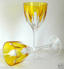 """AJKA FABERGE REGENCY WINE GLASS GOBLETS 9""""H, YELLOW GOLD CASED CRYSTAL Unsigned"""