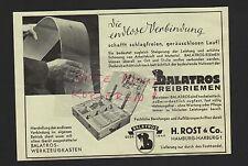HAMBURG-HARBURG, Werbung 1939, H. Rost & Co. Balatros-Treibriemen