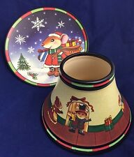 Yankee Candle Christmas candle shade and tray mouse winter