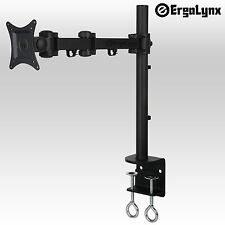 Ergolynx Single Screen VESA Monitor Long Arm Desk Mount Tilt LCD LED TV Clamp