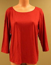 Eileen Fisher Wide Neck 3/4 Sleeve Red Jersey Tee - PL, Style F4VF - NWOT