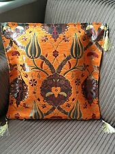 """Turkish High Quality Ottoman Style Chenille Cushion Pillow Cover 17""""x17"""" ORANGE"""