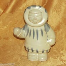 "INUIT STATUE BLUE MOUNTAIN POTTERY HURONIA WHITE 7 1/4"" ESKIMO BMP CANADA ART"