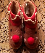 New Zealand Felted Wool Toddler Baby Rudolph Booties/Slippers NWT By Midwest CBK