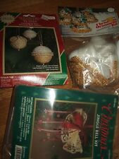 lot 3 vintage modern christmas ornament kits bells new nip victorian more
