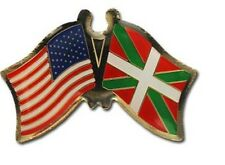 USA - BASQUE LANDS FRIENDSHIP CROSSED FLAGS LAPEL PIN - NEW