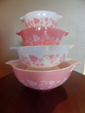 Vtg Gooseberry Pink Cinderella Pyrex Nesting Bowl Set of 4
