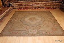 8' x 8' handmade hand woven chain stitch rug soft color French Victorian design