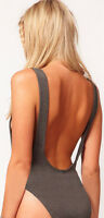 Womens Ladies GREY Backless Cut Out Stretch Bodysuit Party Leotard Bralet Top