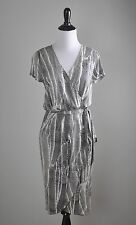 BANANA REPUBLIC $130 Stretch Patterned Pleated True Wrap Dress Size Small