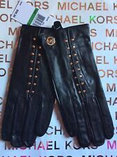 Michael Kors Leather Astor Gold Studded Tech Gloves with Touch Tips NWT $98 L
