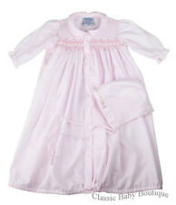 NWT Freidknit Creations Pink Smocked Ribbon Daygown Bag Newborn Baby Girls