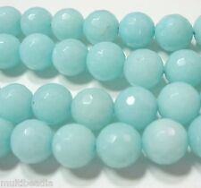 "Blue-Green ""Amazonite"" Quartz 12mm Faceted Round Beads 15"" Sparkling Translucent"
