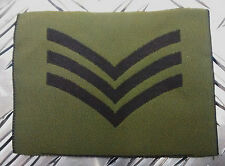 Genuine British Army Green OD Subdued Rank SERGEANT Patches / Badges 1 Pair  NEW