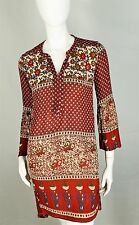 RAGA Top Shirt Size XS Boho Hippie Bell Sleeves Floral Hi Low Red Multi Color