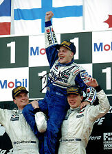 Jacques VILLENEUVE SIGNED RARE 16x12 Formula 1 Podium Photo AFTAL COA