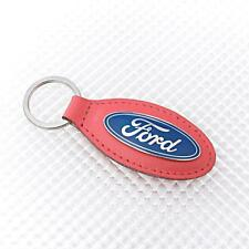 Richbrook 'Official' Ford Logo Keyring with RED Leather Key Fob