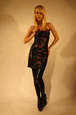 New Limited Ladies Sexy Halter Neck Dress Wet Look Sci Fi  Black Red Small